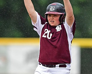 NORTH CANTON, OHIO - JULY 22, 2018: Boardman's Ryan Conti celebrates after RBI-double in the sixth inning of a Little League baseball game, Sunday night in North Canton. DAVID DERMER   THE VINDICATOR