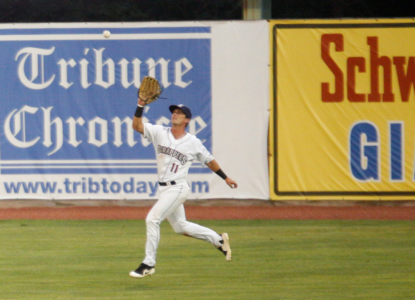 Clark Scolamiero catches the ball in right field during Tuesday night's game against the Cyclones.