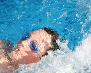 Lee Arent, 9, with APP, competes in the 25Y Backstroke during the swim meet between Applewood Swim Club and Boardman Tennis and Swim Club at the Applewood Swim and Tennis Club on Wednesday.