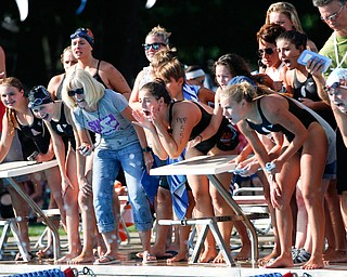 Gina Ricciardi, 17, with APP, cheers along with others for her teammates competing in the 200Y Medley Relay during the swim meet between Applewood Swim Club and Boardman Tennis and Swim Club at the Applewood Swim and Tennis Club on Wednesday.