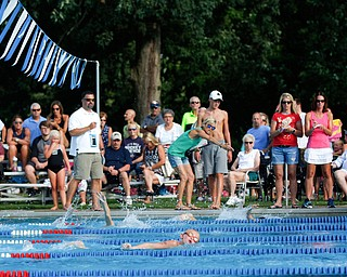 Benjamin Cairns, 8, with APP, competes in the 25Y Freestyle with other 8 & Under boys during the swim meet between Applewood Swim Club and Boardman Tennis and Swim Club at the Applewood Swim and Tennis Club on Wednesday.
