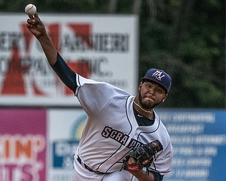 DIANNA OATRIDGE | THE VINDICATOR Mahoning Valley Scrappers' Luis Oviedo releases a pitch in the first inning of play against  the Brooklyn Cyclones on Thursday at Eastwood Field in Niles.
