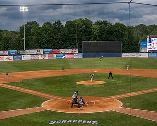 DIANNA OATRIDGE   THE VINDICATOR Storm clouds loom over Eastwood Field in NIles on Thursday as the Mahoning Valley Scrappers hosted the Brooklyn Cyclones.