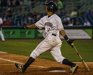 DIANNA OATRIDGE | THE VINDICATOR Mahoning Valley Scrappers' Tyler Freeman follows through on his swing during their game versus the Brooklyn Cyclones on Thursday at Eastwood Field in Niles.