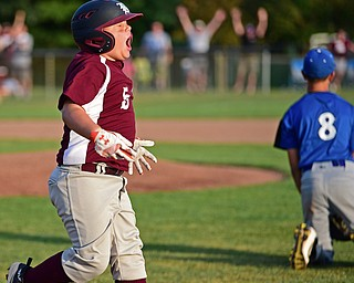 NORTH CANTON, OHIO - JULY 17, 2018: Boardman's Tyler Kirlik celebrates after hitting a walk off single with the bases loaded to beat Hamilton 5-4 in the sixth inning of a Little League baseball game, Friday night in North Canton. DAVID DERMER | THE VINDICATOR