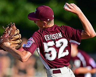 NORTH CANTON, OHIO - JULY 17, 2018: Boardman starting pitcher Jack Ericson delivers in the second inning of a Little League baseball game, Friday night in North Canton. Boardman won 5-4. DAVID DERMER | THE VINDICATOR