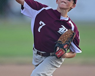 NORTH CANTON, OHIO - JULY 17, 2018: Boardman relief pitcher Anthony Triveri delivers in the fifth inning of a Little League baseball game, Friday night in North Canton. Boardman won 5-4. DAVID DERMER | THE VINDICATOR