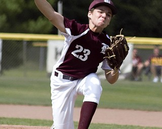 Boardman All-Stars starter Dylan Barrett fires a pitch against New Albany in the Little League state championship game at North Canton Recreational Complex on Saturday afternoon.