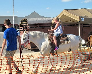 Neighbors | Jessica Harker.Angela Pflug rode one of the horses brought to the plaza by Pony Tails July 1 for the Austintown Fourth of July event.
