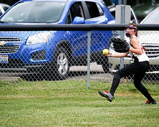 Canfield's Leah Figueroa throws the ball in from right field during the 10U softball state championship game against Tallmadge at Indian Hills Field on Thursday. Canfield won 5-2. EMILY MATTHEWS | THE VINDICATOR