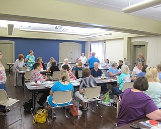 Neighbors | Natalie Wright.Judy Power (Chairman for the Crazy Quilting project), Janis Finnochi, Jean Chamberlain, Sue Sizer, Sue Robinson, Ruth Ebert (Chairman for Outreach for Youngstown Embroidery Guild) and Sally Svoboda led the Crazy Quilting program on July 20. The seven women were all volunteers from the Youngstown Embroidery Guild.