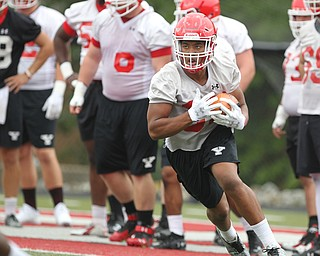 Youngstown state running back Tevin McCaster (37) carries the ball during practice at Stambaugh Stadium on Friday morning.  Dustin Livesay  |  The Vindicator  8/3/18  YSU
