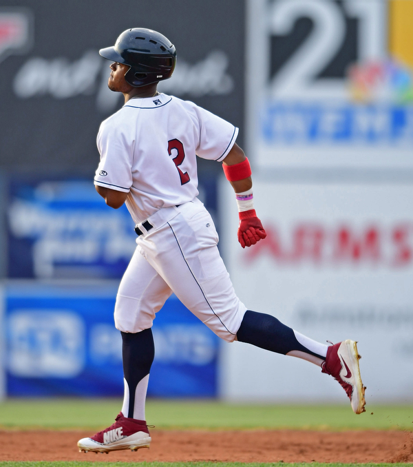 NILES, OHIO - AUGUST 6, 2018: Mahoning Valley Scrappers' Hosea Nelson runs the bases after hitting a solo home run off State College Spikes starting pitcher Franyel Casadilla in the second inning of a baseball game, Monday night at Eastwood Field in Niles. DAVID DERMER | THE VINDICATOR