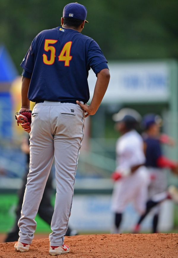 NILES, OHIO - AUGUST 6, 2018: State College Spikes starting pitcher Franyel Casadilla waits for Mahoning Valley Scrappers' Hosea Nelson runs the bases after hitting a solo home run in the second inning of a baseball game, Monday night at Eastwood Field in Niles. DAVID DERMER   THE VINDICATOR
