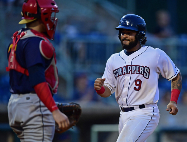 NILES, OHIO - AUGUST 6, 2018: Mahoning Valley Scrappers' Jason Rodriguez scores a run on a sacrifice fly by Tre Gantt in the fifth inning of a baseball game against the Mahoning Valley Scrappers, Monday night at Eastwood Field in Niles. Krause is a former pitcher at Kent State. DAVID DERMER | THE VINDICATOR