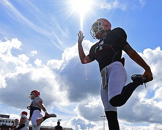 AUSTINTOWN, OHIO - AUGUST 11, 2018: Youngstown State's Nathan Mays warms up before the start of the teams practice, Saturday morning at Austintown Fitch High School. DAVID DERMER | THE VINDICATOR