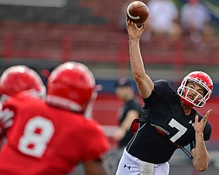 AUSTINTOWN, OHIO - AUGUST 11, 2018: Youngstown State's Nathan Mays throws a pass during the teams practice, Saturday morning at Austintown Fitch High School. DAVID DERMER | THE VINDICATOR