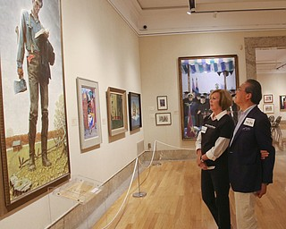 ROBERT K.YOSAY  | THE VINDICATOR..World renown cellist Yo-Yo Ma, and Deborah Rutter, director of the Kennedy Center for Performing Arts arrived at the Butler Institute of American Art this afternoon for a private lunch and discussion on the arts..Norman Rockwell painting of Abraham Lincoln .-30-