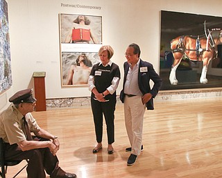 ROBERT K.YOSAY  | THE VINDICATOR..World renown cellist Yo-Yo Ma, and Deborah Rutter, director of the Kennedy Center for Performing Arts arrived at the Butler Institute of American Art this afternoon for a private lunch and discussion on the arts..staring at the 'guard' art piece at the Butler.-30-