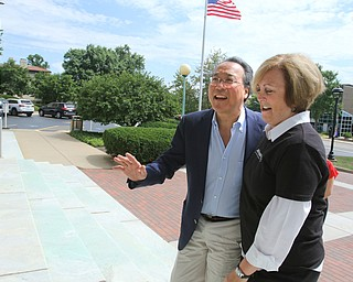 ROBERT K.YOSAY  | THE VINDICATOR..World renown cellist Yo-Yo Ma, and Deborah Rutter, director of the Kennedy Center for Performing Arts arrived at the Butler Institute of American Art this afternoon for a private lunch and discussion on the arts...-30-