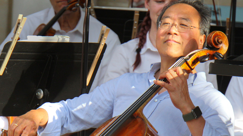 World renown cellist Yo-Yo Ma performs Monday evening to an overflow audience at the Warren Community Ampitheatre.