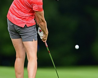 POLAND, OHIO - AUGUST 13, 2018: Emily Dixon of Youngstown watches her approach shot on the 15th hole, Monday afternoon at the Lake Club during the Vindy Greatest Golf Scramble. DAVID DERMER | THE VINDICATOR