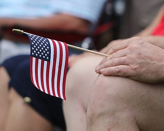 ROBERT K.YOSAY  | THE VINDICATOR..The Healing Wall - dedication - at  Packard Park..Tim Ryan ..a veteran holds a flag during the ceremony...-30-