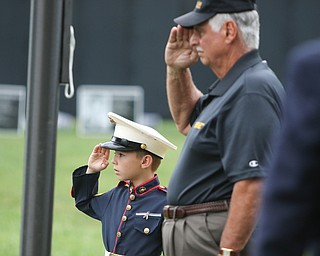 ROBERT K.YOSAY  | THE VINDICATOR..The Healing Wall - dedication - at  Packard Park..Tim Ryan ..Jim Rapone and his grandson dressed in marine garb  8 year old Frankie Santee of Howland.-30-