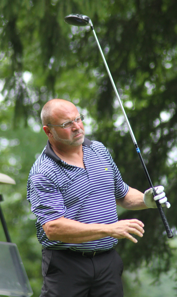 William D. Lewis The Vindicator Will Heid watches his t shot during GGOV at Mill creek 8-17-18.