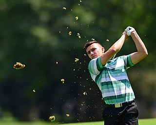 HOWLAND, OHIO - AUGUST 18, 2018: Dan Diloreto of Struthers watches his approach shot on the 12th hole, Saturday afternoon during the Vindy Greatest Golfer at Avalon Lakes. DAVID DERMER | THE VINDICATOR