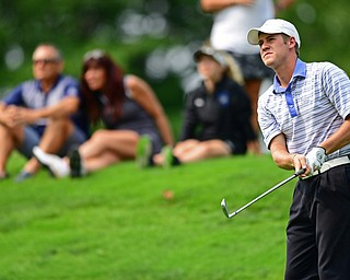 POLAND, OHIO - AUGUST 19, 2018: Joey Cilone watches his tee shot on the sixth hole during the final round of the Vindy Greatest Golfer, Sunday afternoon at the Lake Club. DAVID DERMER | THE VINDICATOR