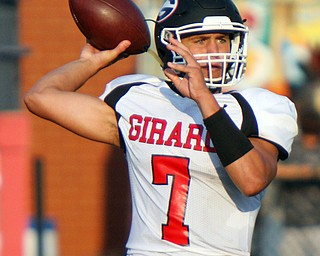 William D. Lewis The Vindicator  Girard's Mark Waid (8) throws during the first quarter of the game against Niles at Niles on Aug. 23, 2018.