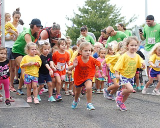Girls ages four and under take off for the quarter-mile-long Kids Run at Panerathon outside of Covelli Centre on Sunday. .EMILY MATTHEWS | THE VINDICATOR