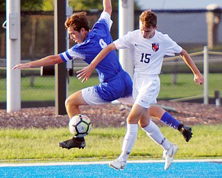 William D. Lewis The Vindicator Howland's Austin Stassinis(15) and Poland's JP Allsop(9) go for the ball during 8-28-18 action at Poland.