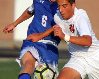 William D. Lewis The Vindicator Howland's Christian Cano (6) and Poland's Joey Ibris(8) go for the ball during 8-28-18 action at Poland.
