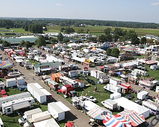 ROBERT K.YOSAY  | THE VINDICATOR..the 172  Canfield Fair is underway at the fairgrounds in Canfield- 52 rides and hundreds of vendors are ready for the traditional end of summer festivities..The view of the fair from the over two story tall