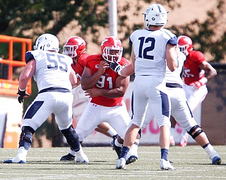 YSU's Wes Thompson gets ready to block during the game on Saturday.