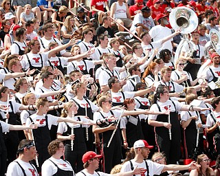 YSU's marching band cheers during the football game against Butler on Saturday.