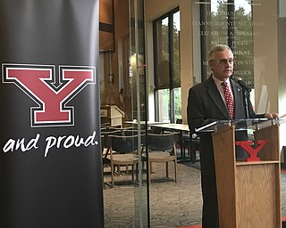 """Youngstown State University President Jim Tressel discusses the Cafaro family's donation of $1.5 million to the university's """"We See Tomorrow"""" campaign to fund the construction of the new Cafaro Family Field intramural complex on the north side of campus."""