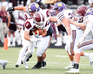 Boardman's Josh Rodriguez tries to get past Jackson during the first half of their game Friday night at Boardman. EMILY MATTHEWS | THE VINDICATOR