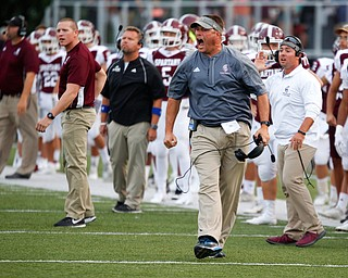 Boardman head coach Joe Ignazio yells after the call that Boardman did not gain possession against Jackson was made during the first half of their game Friday night at Boardman. EMILY MATTHEWS | THE VINDICATOR