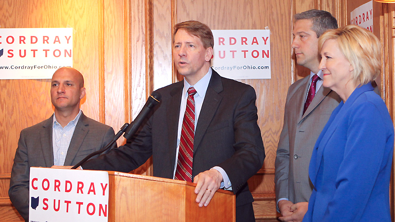Richard Cordray, a former state treasurer and attorney general who is now the Democratic candidate for Ohio governor,  met with United Auto Workers union retirees Monday at the Mahoning Country Club. In this file photo are Betty Sutton, right, his lieutenant governor running mate; U.S. Rep. Tim Ryan of Howland, D-13th; and state Rep. John Boccieri of Poland, D-59th, at left.