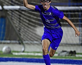HUBBARD, OHIO - OCTOBER 9, 2018: Hubbard's AJ Trobek celebrates after scoring a goal during the first half of their game, Tuesday night at Hubbard Eagles Stadium. DAVID DERMER | THE VINDICATOR
