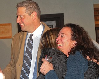 William D. Lewis The Vindicator Michele Lepore Hagan, right, gets a hug from Andrea Ryan wife of Tim Ryan who is at left  Tim Ryan during an election night watch party at Avalon in Youngstown.