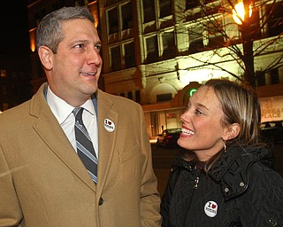 William D. Lewis The Vindicator  Tim Ryan and his wife Andrea arrive at an election night watch party at Avalon in Youngstown.