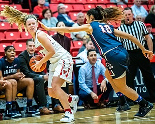 DIANNA OATRIDGE | THE VINDICATOR  Youngstown State's Melinda Trimmer (14) looks to pass to a teammate against defensive pressure from Robert Morris's Laura Carrasco (10) during their game at Beeghly Center in Youngstown on Tuesday.