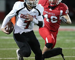 NILES, OHIO - November 10, 2018: GIRARD INDIANS vs PERRY PIRATES at Bo Rein Stadium-  1st qtr., Girard Indians' Mark Waid (7) runs for a 1st down as Perry Pirates' Cameron Rogers (46) pursues.  MICHAEL G. TAYLOR | THE VINDICATOR