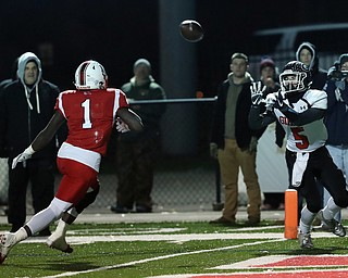 NILES, OHIO - November 10, 2018: GIRARD INDIANS vs PERRY PIRATES at Bo Rein Stadium-  2nd qtr., Girard Indians' Nick Malito (5) catches a td as Perry Pirates' Jaylen Anderson (1) defends.  MICHAEL G. TAYLOR | THE VINDICATOR