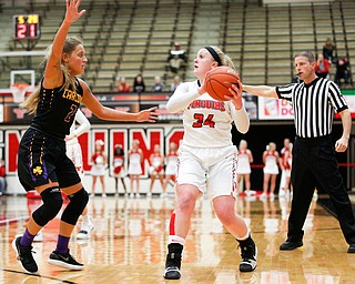 YSU's McKenah Peters looks to pass the ball as Carlow's Delaney Daly tries to block her during their game Friday night at YSU. EMILY MATTHEWS | THE VINDICATOR