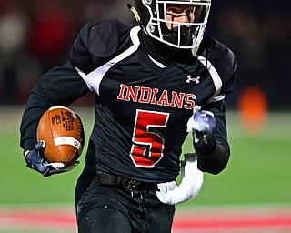 NILEs, OHIO - NOVEMBER 17, 2018: Girard's Nick Malito returns a fumble during the first half of the OHSAA Division 4 Region 13 Regional Final game, Saturday night at Niles McKinley High School. DAVID DERMER | THE VINDICATOR